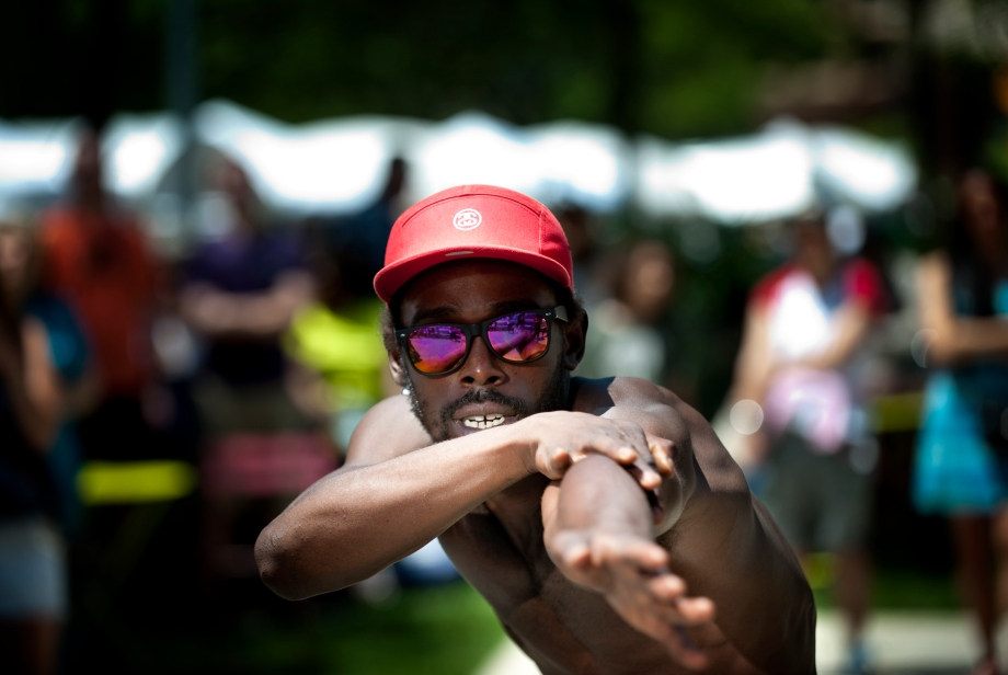 A member of Breakatronz, a dance crew from New York City, performs during the Three Rivers Arts Festival at Gateway Center on Saturday, June 7, 2014. (EMILY HARGER | PHOTO EDITOR)