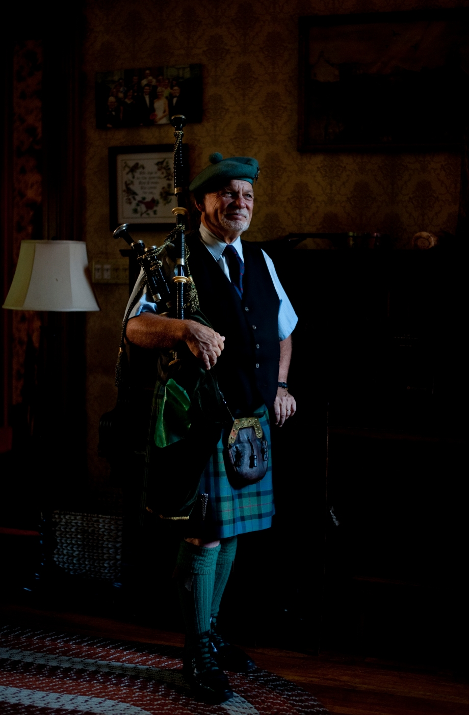 George Balderose poses for a portrait outside of his home on the North Side on Friday, June 6, 2014. Balderose, who has been playing the bagpipes for 40 years and is the director of the Balmoral School of Piping, played a concert Friday evening in Gibsonia with his fellow musician Richard Hughes, who both belong to the group Road to the Isle. (EMILY HARGER | PHOTO EDITOR)